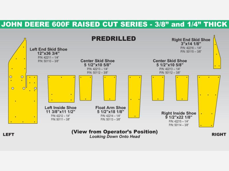 John Deere 600F Raised Cut Skid Shoe Sets