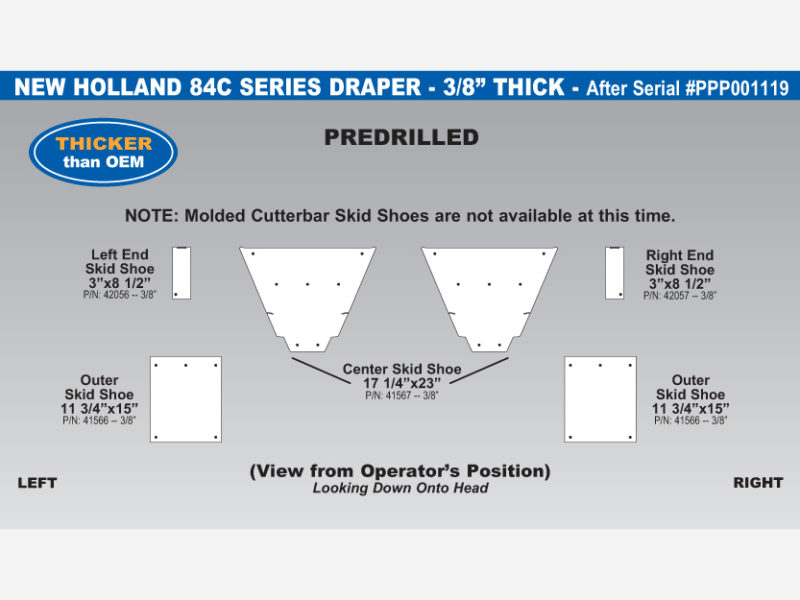 New Holland 84C Draper Skid Shoe Sets - After Serial #PPP001119