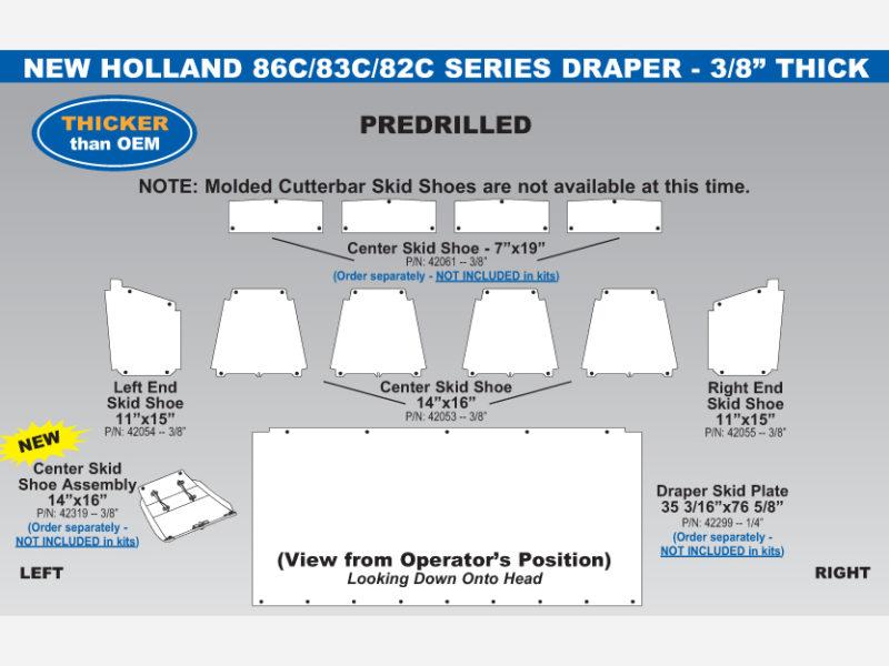 New Holland 86C/83C/82C Draper Skid Shoe Sets