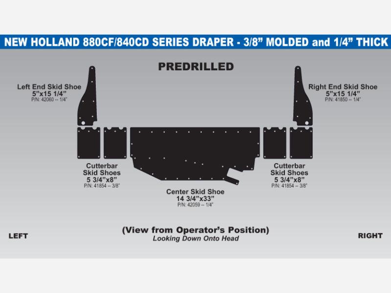 New Holland 880CF/840CD Draper Skid Shoe Sets